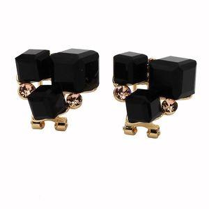 Black square crystal golden earrings